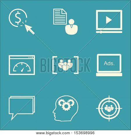 Set Of Advertising Icons On Questionnaire, Brain Process And Focus Group Topics. Editable Vector Ill