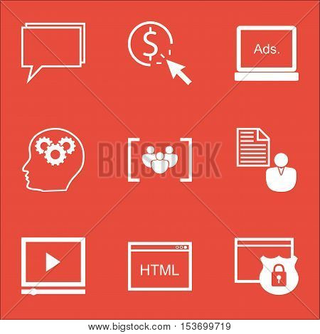 Set Of Seo Icons On Digital Media, Report And Video Player Topics. Editable Vector Illustration. Inc