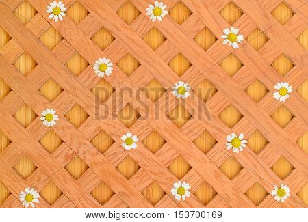 wood background decorative grille and white daisies