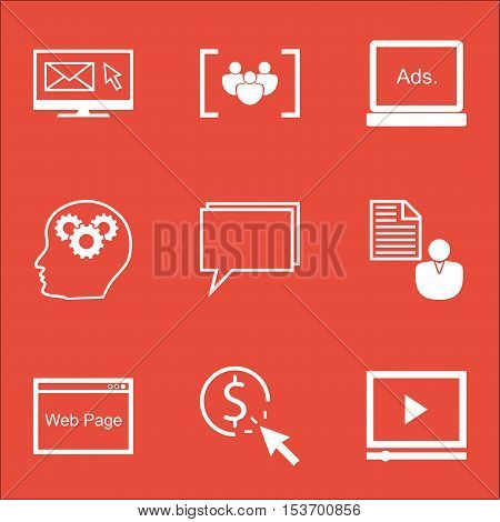 Set Of Advertising Icons On Questionnaire, Brain Process And Report Topics. Editable Vector Illustra