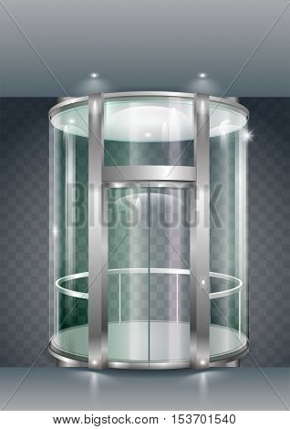 Glass modern elevator cylindrical shape with a transparent glass. Vector graphics