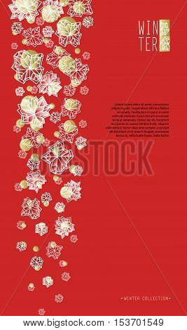 Vertical border frame.Winter polygonal trendy style snowflakes on red gold background. Winter holidays snowfall concept winter label. Snowflake snow red white vector illustration stock vector.