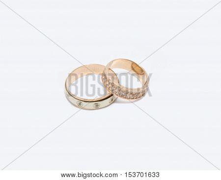wedding gold rings isolated on white background