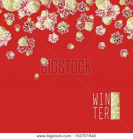 Horizontal border frame. Winter polygonal trendy style snowflakes on red gold background. Winter holidays snowfall concept winter label. Snowflake snow red white vector illustration stock vector.