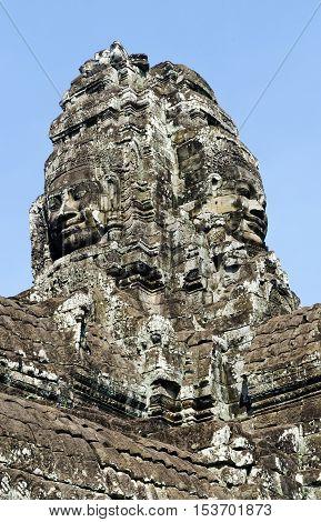 ankgor wat famous buddhist old landmark temple ruins detail near siem reap cambodia