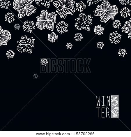 Horizontal border frame. Winter polygonal trendy style snowflakes on black white background. Winter holidays snowfall concept winter label. Fall snowflake vector illustration stock vector.
