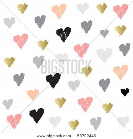 Light seamless pattern with hearts confetti on white background. Romantic trendy heart frame. Valentine day design for love card, valentine day greetings. Vector illustration stock vector.