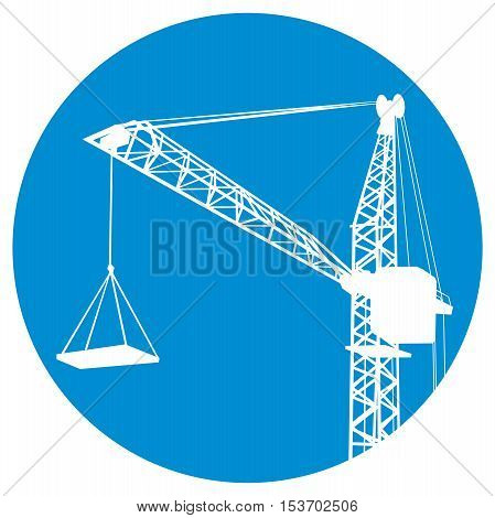 Silhouettes of crane on building. icon of a construction
