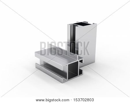 3D visualization of aluminum profile in white background, 3D rendering
