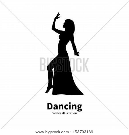 Vector illustration of black silhouette of a dancing girl. Dancer woman on an isolated white background. The concept of oriental Eastern belly dance. Logo icon Bollywood dance. Profile side view.