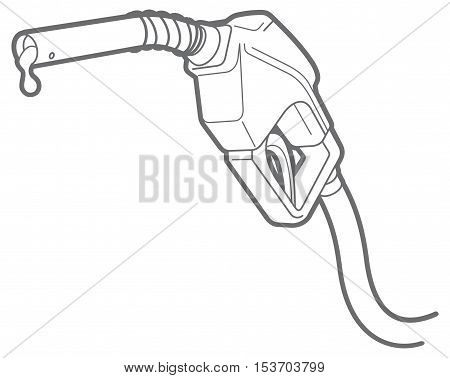 line icon of filling gun. nozzle. isolated on white background