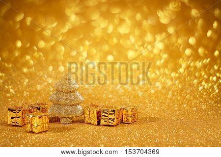 Golden Christmas Fir Tree