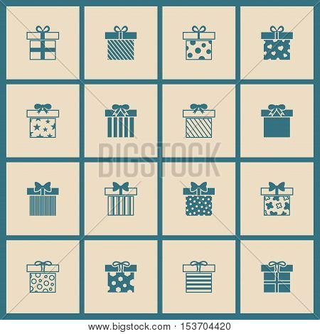 Gift boxes vector icons set in beige and blue. Present to holiday christmas illustration