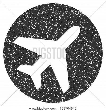 Avion rubber seal stamp watermark. Icon symbol inside rounded rectangular frame with grunge design and unclean texture. Unclean vector gray ink sign on a white background.