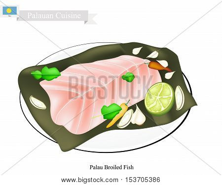 Palauan Cuisine Illustration of Traditional Broiled Fish Made of Fish Cooked with Garlic Ginger and Banana Leaf. A Popular Dish of Palau.