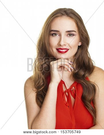 Happy beautiful brunette woman in red blouse, isolated on white background