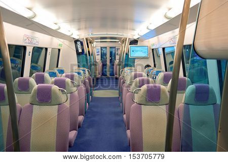 HONG KONG - 06 MAY, 2015: inside the Airport Express. The Airport Express is one of the lines of the Hong Kong MTR system.