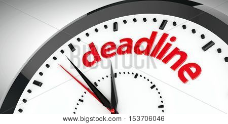 Black clock with Deadline represents time business concept three-dimensional rendering 3D illustration