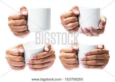Set of the human hand hold on coffee cup isolated in white background with clipping path