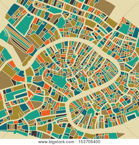 Venice vector map. Colorful vintage design base for travel card advertising gift or poster.