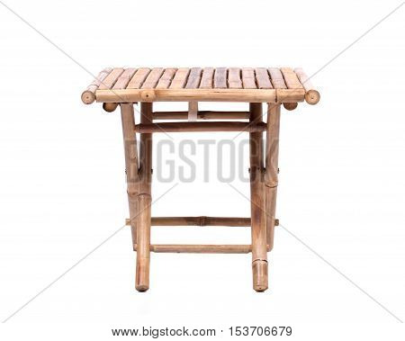 Natural bamboo folding table isolated on white background