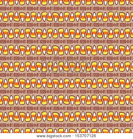 Candy corn on brown with abstract ornament. Halloween vector seamless pattern. Hand drawn sketchy tileable background, design element for halloween party invitation card or web banner