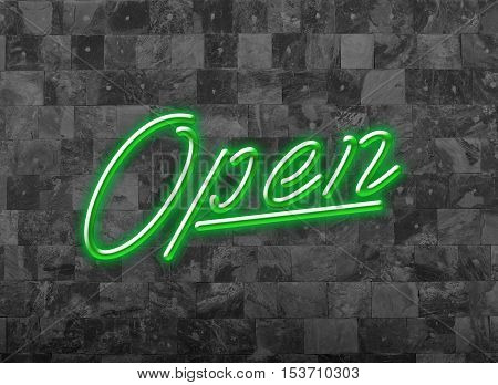 Open Sign in Glooming Green Neon Font on a dark Wall for attraction of customers