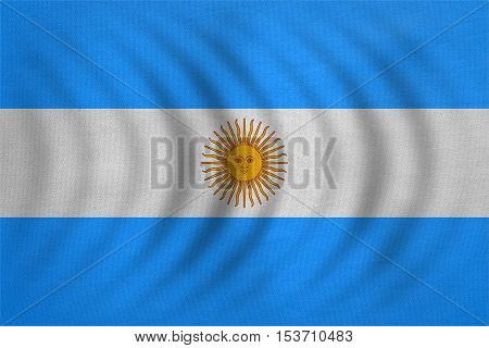 Argentinian national official flag. Argentine Republic patriotic symbol banner element background. Flag of Argentina wavy with real detailed fabric texture accurate size illustration