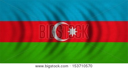 Azerbaijani national official flag. Patriotic symbol banner element background. Correct colors. Flag of Azerbaijan wavy with real detailed fabric texture accurate size illustration
