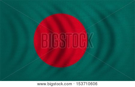 Bangladeshi national official flag. Patriotic symbol banner element background. Correct colors. Flag of Bangladesh wavy with real detailed fabric texture accurate size illustration