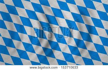 Bavarian official flag symbol banner element. Oktoberfest checkered background with blue and white rhombus. Correct colors. Flag of Bavaria wavy detailed fabric texture accurate size illustration