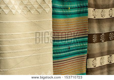 Crafts. Hand - woven carpets with woolen thread.