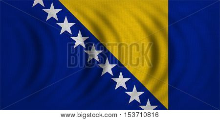 Bosnian and Herzegovinian national official flag. Patriotic symbol banner element background. Correct color. Flag of Bosnia and Herzegovina wavy detailed fabric texture accurate size illustration