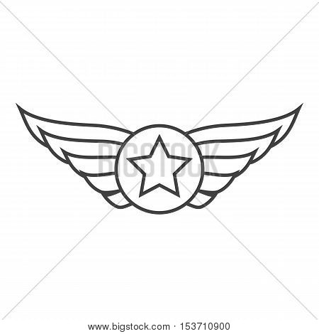 Aviation outline emblem, badge or logo. Military and civil aviation icon. Air force symbol. Vector stock illustration.