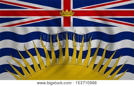 Canadian provincial BC patriotic element and official symbol. Canada banner and background. Flag of the Canadian province of British Columbia wavy detailed fabric texture accurate size illustration