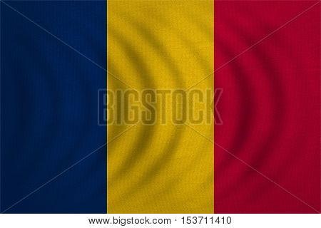 Chadian national official flag. African patriotic symbol banner element background. Correct colors. Flag of Chad wavy with real detailed fabric texture accurate size illustration