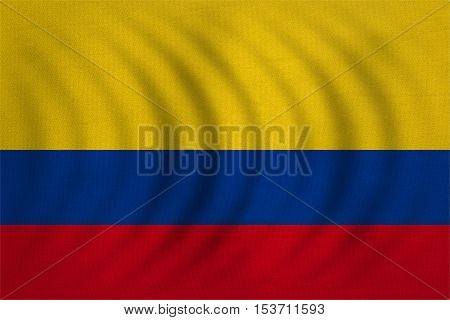 Colombian national official flag. Patriotic symbol banner element background. Correct colors. Flag of Colombia wavy with real detailed fabric texture accurate size illustration