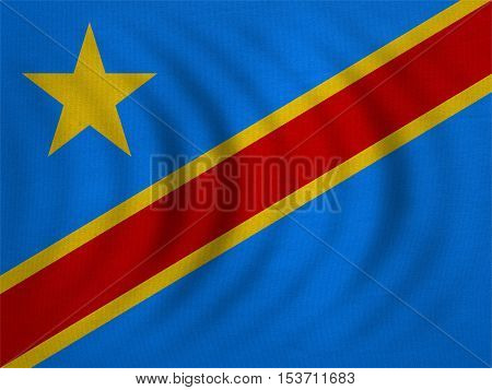 DR Congo national official flag. African patriotic symbol banner element background. Correct color. Flag of Democratic Republic of the Congo wavy detailed fabric texture accurate size illustration