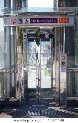 Modern lift for invalids at the underground passage. Vienna Austria.