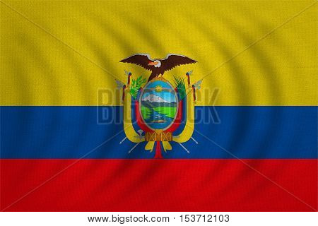 Ecuadorian national official flag. Patriotic symbol banner element background. Correct colors. Flag of Ecuador wavy with real detailed fabric texture accurate size illustration