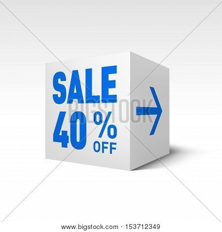 Cube Banner Template. Forty Percent off Discount