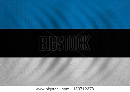 Estonian national official flag. Patriotic symbol banner element background. Correct colors. Flag of Estonia wavy with real detailed fabric texture accurate size illustration