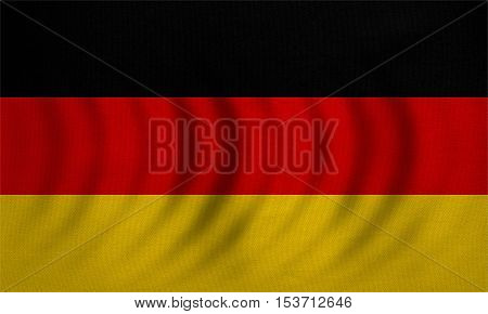 German national official flag. Patriotic symbol banner element background. Correct colors. Flag of Germany wavy with real detailed fabric texture accurate size illustration