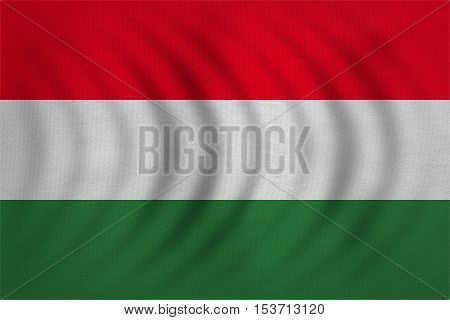 Hungarian national official flag. Patriotic symbol banner element background. Correct colors. Flag of Hungary wavy with real detailed fabric texture accurate size illustration