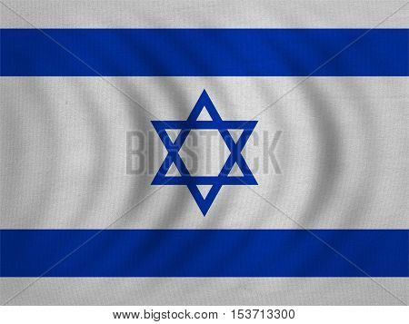 Israeli national official flag. Patriotic symbol banner element background. Correct colors. Flag of Israel wavy with real detailed fabric texture accurate size illustration