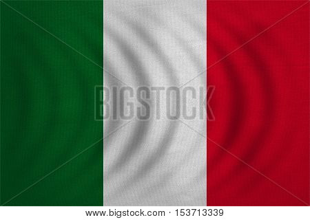 Italian national official flag. Patriotic symbol banner element background. Correct colors. Flag of Italy wavy with real detailed fabric texture accurate size illustration