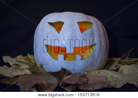 Halloween pumpkins smile and scary eyes for party night