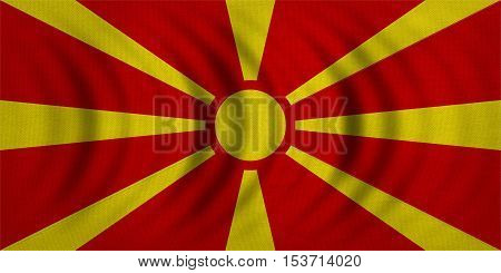 Macedonian national official flag. Patriotic symbol banner element background. Correct colors. Flag of Macedonia wavy with real detailed fabric texture accurate size illustration