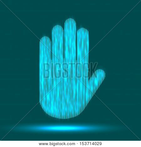 Hand gesture stop line icon set in modern geometric style with construction lines. Vector illustration of human hands.