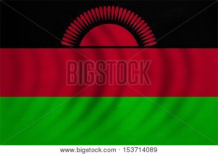 Malawian national official flag. African patriotic symbol banner element background. Correct colors. Flag of Malawi wavy with real detailed fabric texture accurate size illustration